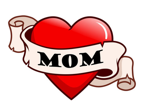 """Tattoo style red heart with ribbon scroll around it that says """"mom"""". Family, love, Mother's day vintage tattoo theme design."""