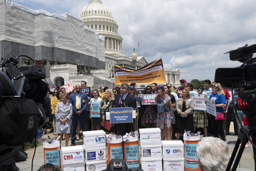 AFL-CIO president Richard Trumka addresses the news media cameras at a rally outside the U.S. Capitol in Washington