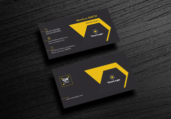 Dark Gray Business Card Layout with Yellow Accents