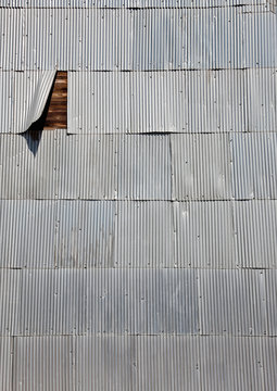 Corrugated Shingles on a Wooden Wall