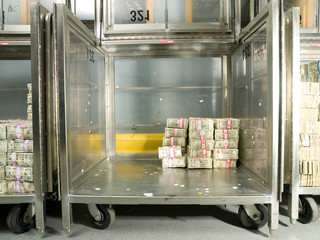 US Dollar Bills in a Bank Cart the US Federal Reserve Bank of Chicago strong room.