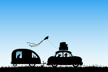 Cartoon retro car on country road. Vector illustration with silhouettes of woman and dog traveling with camper trailer. Family road trip. Blue pastel background