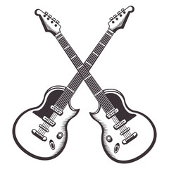 crossed guitars drawn tattoo icon