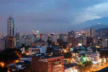 Keuken foto achterwand Chocoladebruin Cali, Valle del Cauca, Colombia. May 11, 2006: Night panoramic of the city