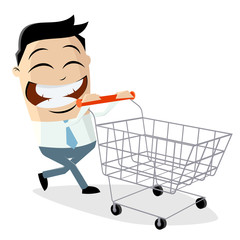 happy asian businessman with empty shopping cart
