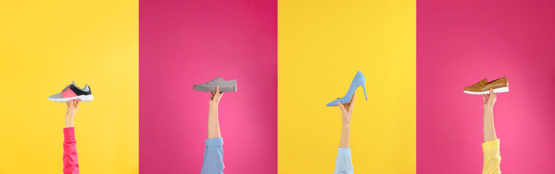 Woman holding sportive shoe on yellow background, closeup. Space for text