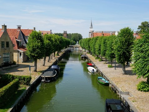 a canal in the small town Sloten in the Netherlands