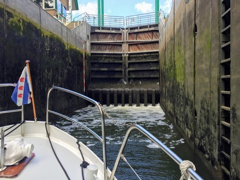 Motorboat in a lock