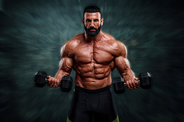 Handsome, Strong , Muscular Body Builder Lifting Weights