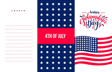 Happy Independence Day USA, hand radwn lettering on white background