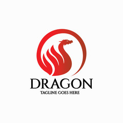 Dragon logo design template. Vector illustration