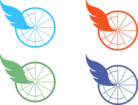 Vector logo bicycle wheel with wing or  pen. Logo for cycle.