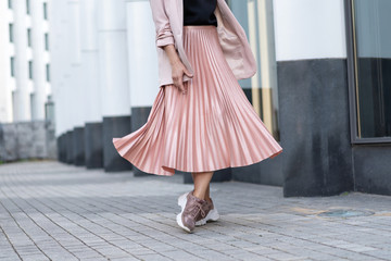 Peach colored A Line Pleated Skirt Wall mural