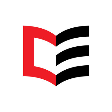 3D Book with letter CE logo design vector