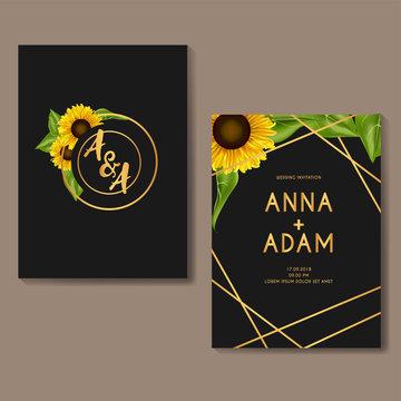 sunflower golden wedding invitation card template design-01
