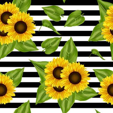 seamless pattern sunflowers background