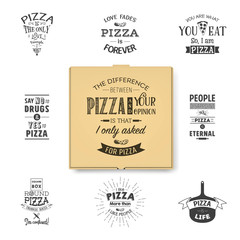 Vector 3d Realistic Blank Brown Craft Paper Pizza Box Template with Typographic Quotes Closeup Isolated on White Background. Mockup for Logo, Corporate Design. Top View