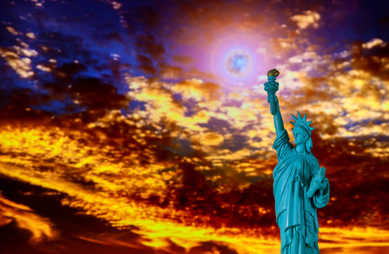 Close up of the statue of liberty at sunset Independence day