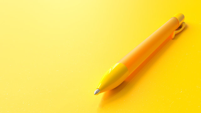 Yellow pen on paper yellow background.