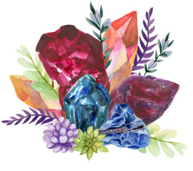 watercolor gouache elegant vintage Crystal Stone and Gemstones with flower succulants and foliage leaf bouquet wreath hand painted