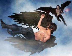 Fallen angel illustration. 3d renderings.