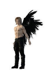 Blond male angel with black feather wings. 3d renderings. 3d illustrations.