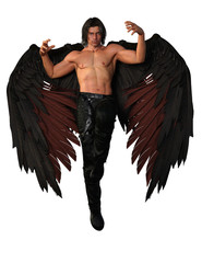 Dark haired male angel with black feather wings. 3d renderings. 3d illustrations.