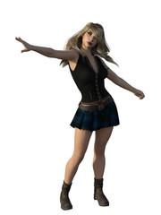 Punk rock school uniform woman with blonde hair. 3d renderings. 3d illustrations