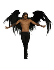 Fallen angel with black feather wings. 3d renderings. 3d illustrations.