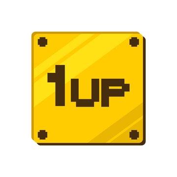 1up retro videgame message