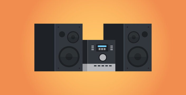 electric home audio systems sound device icon studio HI FI systems concept flat