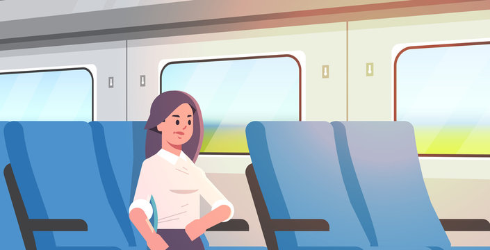 businesswoman traveling by train passenger woman sitting on comfortable chair during business trip travel long short distance public transport concept flat portrait horizontal