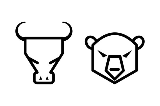 Stock market concept bull and bear icons on white background.