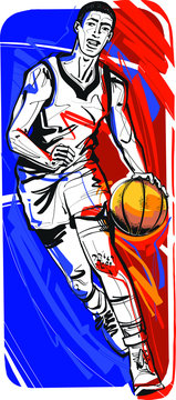 the vector illustration of a basketball player