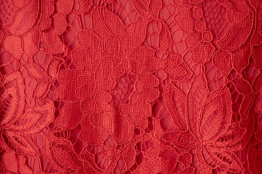 Lace fabric background, red lace fabric