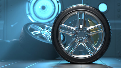 Car tires in a futuristic room. Alloy wheels. 3D visualization