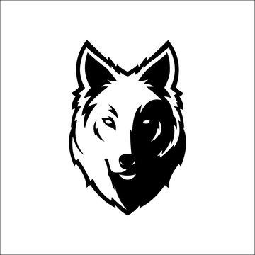Wolf bolt Emblem, mascot head silhouette, sport logotype. Template for business or t-shirt design. Vector