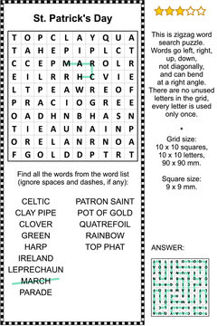 St. Patrick's Day themed zigzag word search puzzle (suitable both for kids and adults). Answer included.