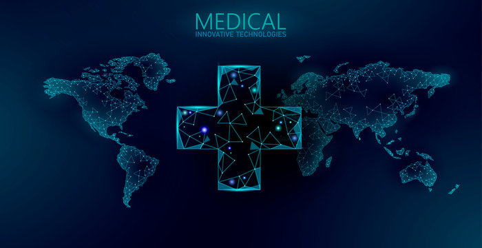 Worldwide medicine drugstore delivery. Global shipping pharmacy service mobile app. Modern healthcare technology world map. Low poly abstract background vector