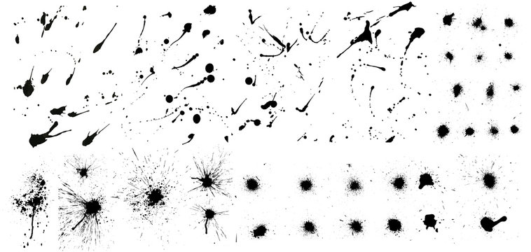 Nice сollection of ink splashes blots splatter. Set grunge design element and art messy backdrop. High quality manually traced. Color dirty liquid. Black ink blow explosion. Vector grunge set