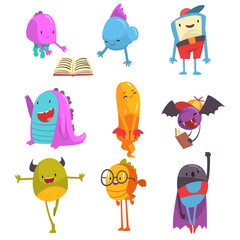 Cute Friendly Freaky Monsters Set, Funny Colorful Aliens Cartoon Characters Vector Illustration