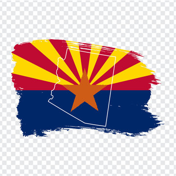Flag of Arizona from brush strokes and Blank map of Arizona. United States of America. High quality map Arizona and flag on transparent background. Stock vector. Vector illustration EPS10.