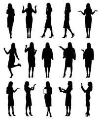 Collection of business woman or teacher wearing skirt in different situations and gestures.  Easy editable vector illustration.