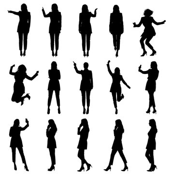 Set of business woman in suit using phone and touch screen in different situations silhouettes.  Easy editable vector illustration.