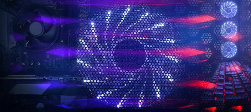 Modern tech abstract blue background with computer hardware tools, neon lights, fans, microchips. Abstraction blue and red neon, led light. Metal plates, modern equipment.