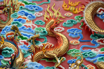 Chinese dragon in the wall according to Buddhist temples