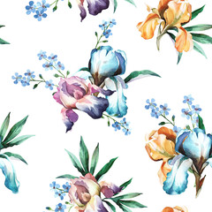 watercolor seamless pattern of colorful bouquet with iris flower, forget-me-not and leaves isolted on white background