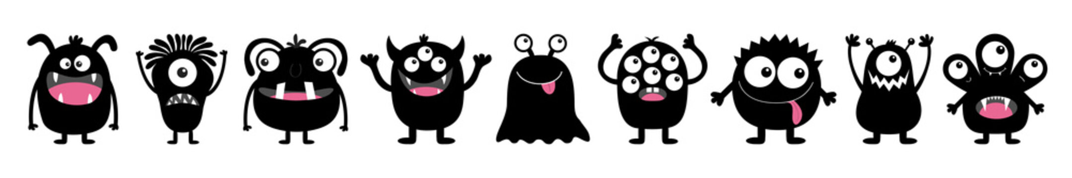 Monster black round silhouette icon set line. Happy Halloween. Eyes, tongue, tooth fang, hands up. Cute cartoon kawaii scary funny baby character. White background. Flat design.