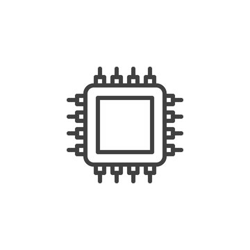 CPU line icon. Integrated circuit chip linear style sign for mobile concept and web design. Computer processor outline vector icon. Electronic component symbol, logo illustration. Vector graphics