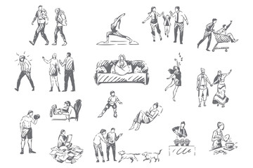 People lifestyle, personal leisure concept sketch Wall mural